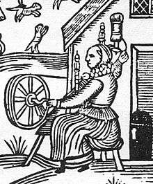 Habitrot Woodcut_Woman_Spinning_Detail